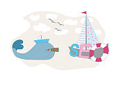 Conceptual SEO background. Vector cartoon whale with a spyglass that looks at the CEO inscription. Search Engine Optimization background