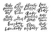 Body positive quotes handwritten calligraphy set. Modern vector brush calligraphy.