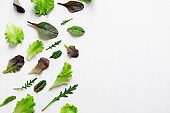 Green salad leaves on a white background. Pattern with lettuce leaves. Background design with leaves for salad