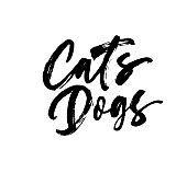 Cats, dogs handwritten black calligraphy