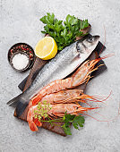 Fresh seafood. Trout fish and langostino shrimps