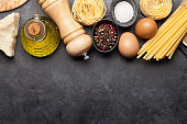 Pasta, eggs and spices