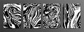 Collection of abstract monochrome vector marble background. Black and white ink marble texture.