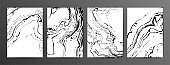 Monochrome marbled paper vector illustrations set. Black and white hand drawn backgrounds with liquid texture.