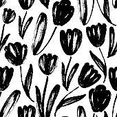 Tulips hand drawn seamless pattern