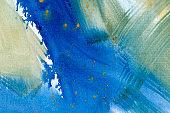 Ultramarine yellow and green watercolor hand drawn background. Vintage indigo dry brush strokes raster illustration.