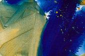 Ultramarine and ochre watercolor hand drawn background. Vintage indigo dry brush strokes raster illustration.