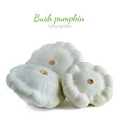 Three bush pumpkin isolated on a white background. Healthy vegetables close-up