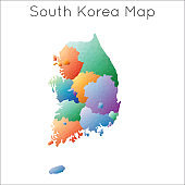 Low Poly map of South Korea.