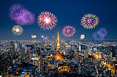 Fireworks in Tokyo skyline at night, Japan