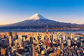 Sunset view of Mt. Fuji and Tokyo skyline