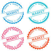 Farmers market badge isolated on white background.
