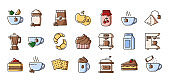 Tea Coffee Outline Color Icons
