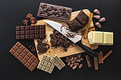 Chocolate handmade candies on a kitchen table