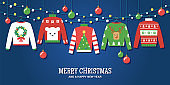 Ugly Christmas sweaters holiday party invitation vector design template