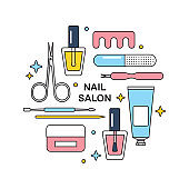 Nail salon tools vector line icons round design template.
