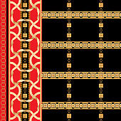 Baroque border seamless pattern with golden ribbons and chains. Striped patch for scarfs, print, fabric
