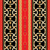 Baroque seamless pattern with golden ribbons and chains. Striped patch for scarfs, print, fabric
