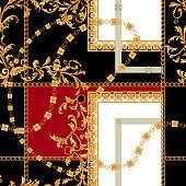 Baroque seamless pattern with chains. Vector patch for print, fabric, scarf