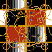 Seamless pattern with chains and ropes. Vector patch for fabric, scarf