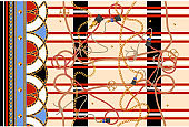 Border seamless pattern with chains. Vector patch for print, fabric, scarf