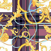 Baroque check seamless pattern with chains and frames. Vector patch for fabric, scarf