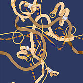 Seamless pattern with flat chains and belts. Vector baroque patch for scarfs, print, fabric