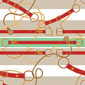 Baroque chains and belts. Vector seamless striped pattern for scarf
