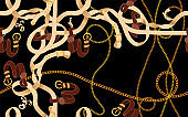 Baroque patch with golden chains and belts. Vector seamless pattern for scarf. Black background