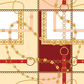 Baroque belts and chains. Vector seamless pattern for print, fabric, scarf