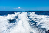 Wave from boat on water surface