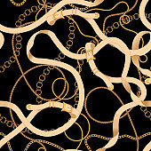 Seamless pattern with chains and belts. Vector patch for scarfs, print, fabric