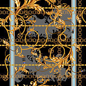 Baroque patch with golden chains and stucco. Seamless pattern for scarfs, print, fabric