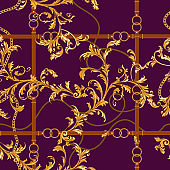 Seamless pattern with golden chains, belts and baroque leaves. Vector baroque patch for scarfs, print, fabric