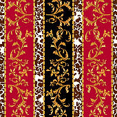 Baroque seamless pattern with golden leaves and chains. Striped patch for scarfs, print, fabric