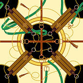 Seamless pattern with chains, belts and epaulets. Vector patch for fabric, scarf