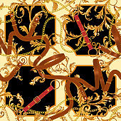 Baroque seamless pattern with gold chains, belts. Vector patch for print, scarf, fabric design