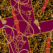 Chains and belts on spotted animal background. Vector seamless pattern for fabric, scarf