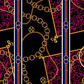 Chains and belts patch on spotted animal background. Vector seamless pattern for fabric, scarf
