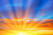 Sunset blue orange sky
