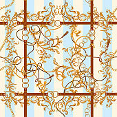 Baroque seamless pattern with golden chains, leaves and belts. Striped patch for scarfs, print, fabric