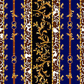 Baroque seamless pattern with golden belts, leaves and chains. Striped patch for scarfs, print, fabric