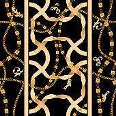 Golden ribbons and chains. Vector seamless pattern for scarfs
