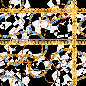 Baroque seamless pattern with chains and leaves. Vector patch for print, fabric, scarf
