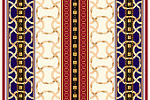 Baroque striped seamless pattern with golden ribbons and chains. Vintage patch for scarfs, print, fabric