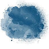 Grunge blue ink splatter brush splash isolated on white design element art abstract background