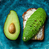 avocado sandwich, healthy food (bread toast snack) menu concept. food background. top view. copy space
