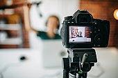 Boy making vlog