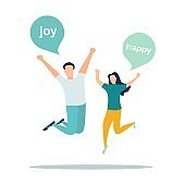 illustrator, a group of happy, jumping people with happiness