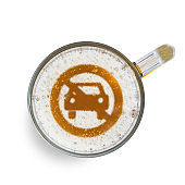Concept of safe driving. Sign not allow Car access on the beer foam in glass. Isolated on white. Top view